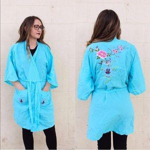 Vintage 1960's - 1970's Embroidered Robe / Kimono